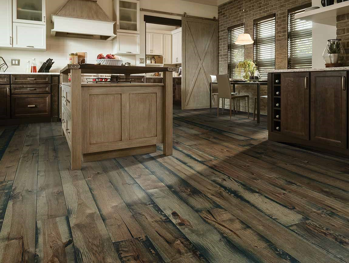 rustic pattern wood look flooring in barn style kitchen